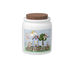 Cute Folk Country House and Picket Fence Art Candy Dish at Zazzle