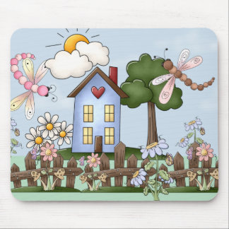 Cute Folk Country House and Picket Fence Art Mouse Pad