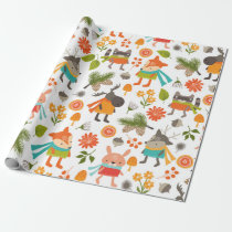 Cute Folksy Woodland Animals Wrapping Paper