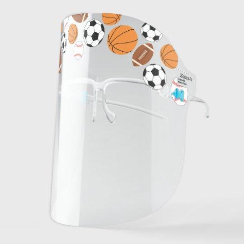 Cute Football Basketball Baseball Soccer Sports Face Shield