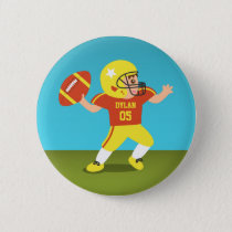 Cute Football Boy with Helmet and Shoulder Pads Button