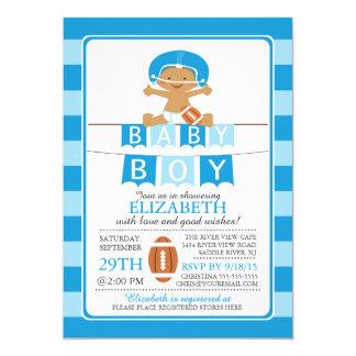 Cute Football Boys Baby Shower Invitation