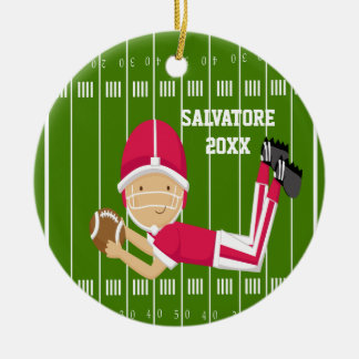 Cute Football Player in Red Christmas Ornament