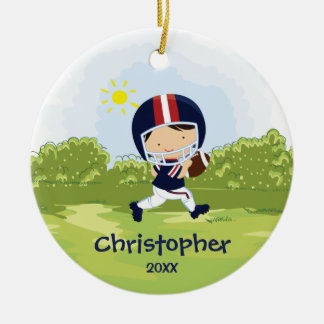 Cute Football Player Sport Christmas Ornament