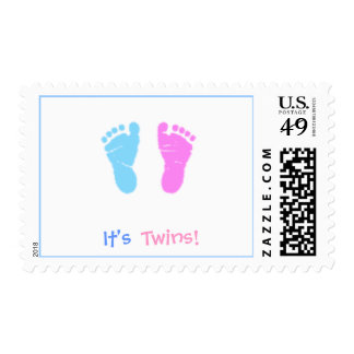 cute footprints It s Twins - Postage Stamps