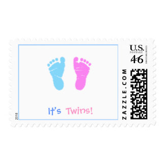 cute footprints  It's , Twins! - Postage Stamps