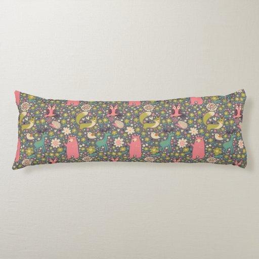 Animal Body Pillow Pattern : Cute Forest Animals Pattern Body Pillow Zazzle