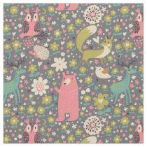 Cute Forest Animals Pattern Fabric