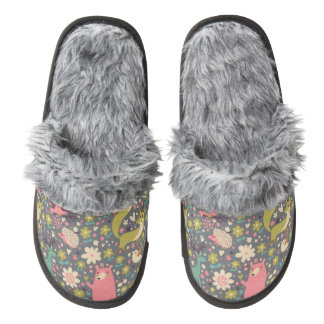 Cute Forest Animals Pattern Pair Of Fuzzy Slippers