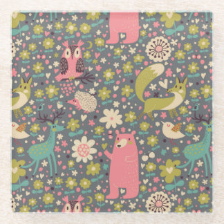 Cute Forest Animals Pattern Glass Coaster