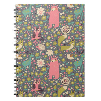Cute Forest Animals Pattern Spiral Note Book