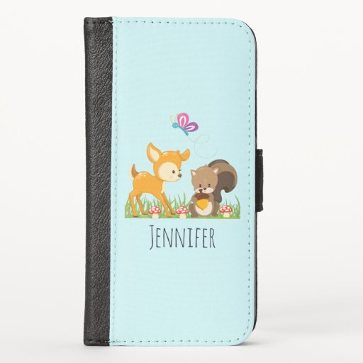 Cute Forest Animals Whimsical Cartoon iPhone X Wallet Case