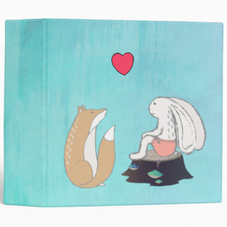 Cute Forest Creatures Fox and Rabbit with Heart 3 Ring Binder