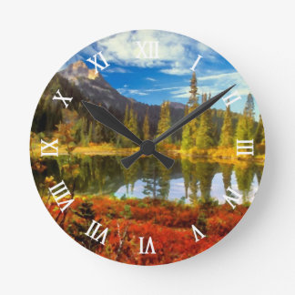 Cute Forest Lake Autumn Colors Watercolor Painting Round Wall Clock