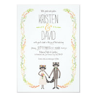 Cute Forest Raccoons Rustic Wedding Card