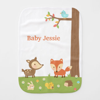 Cute Forest Woodland Animal For Babies Baby Burp Cloth