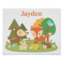 Cute Forest Woodland Animal Kids Room Décor Poster