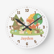 Cute Forest Woodland Animal Kids Room Decor Round Clock