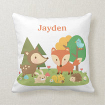 Cute Forest Woodland Animal Kids Room Decor Throw Pillow