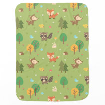 Cute Forest Woodland Animal Pattern For Babies Receiving Blanket