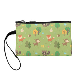 Cute Forest Woodland Animal Pattern For Kids Change Purse