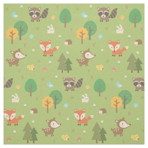 Cute forest woodland animal pattern for kids fabric for Cute childrens fabric