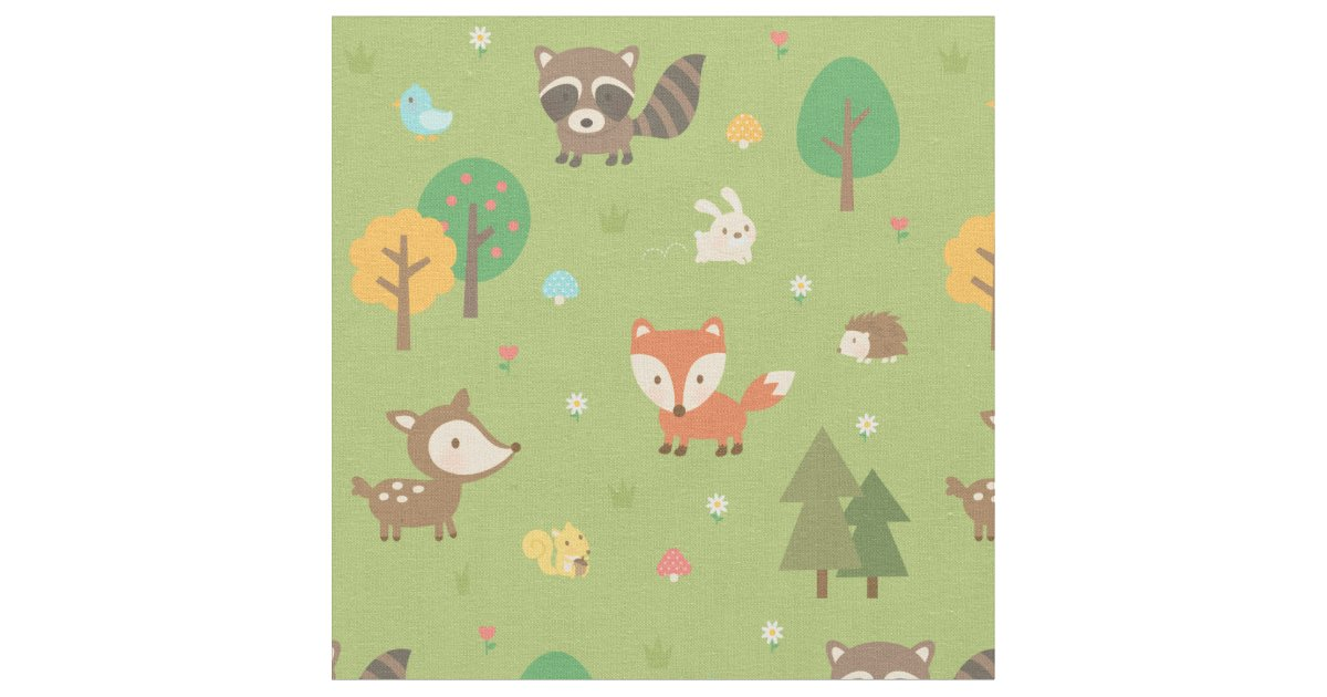 Cute forest woodland animal pattern for kids fabric zazzle for Cute childrens fabric