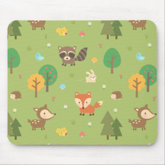 Cute Forest Woodland Animal Pattern For Kids Mouse Pad