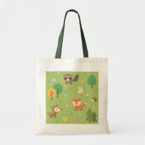 Cute Forest Woodland Animal Pattern For Kids Tote Bag
