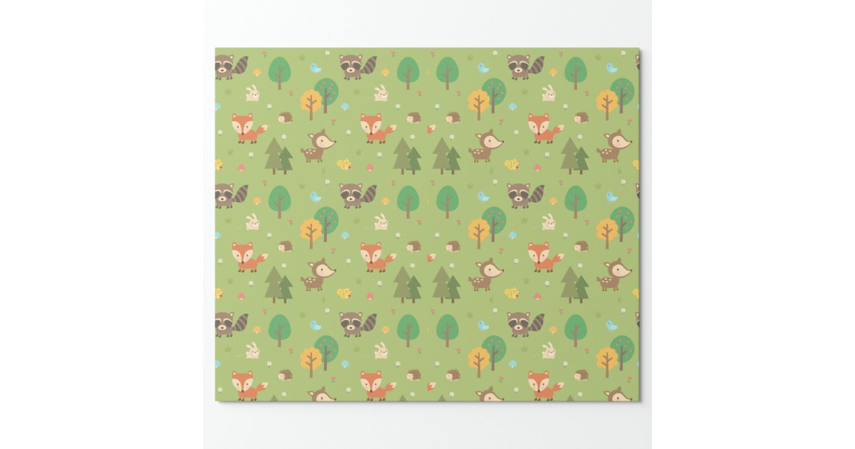 Cute Forest Woodland Animal Pattern For Kids Wrapping