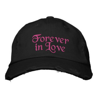 Cute Forever in Love hot pink Embroidered Hat