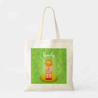 Cute Forget Me Not Girl Flower Bouquet With Name Budget Tote Bag