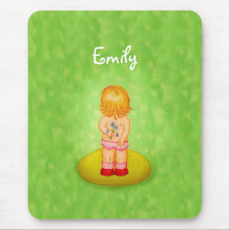 Cute Forget Me Not Girl Flower Bouquet With Name Mouse Pad