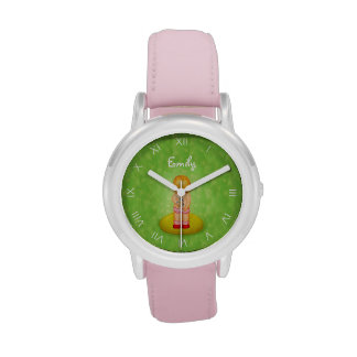 Cute Forget Me Not Girl Flower Bouquet With Name Wristwatch