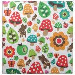 Cute forrest deer butterfly flower pattern printed napkin