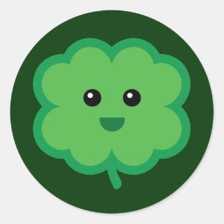 Cute Four Leaf Clover Classic Round Sticker