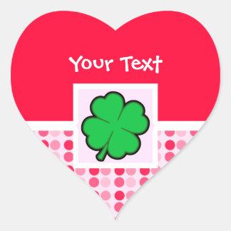 Cute Four Leaf Clover Heart Sticker