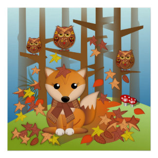 Cute fox and owsl in autum poster