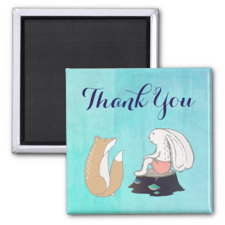 Cute Fox and Rabbit Cartoon Sketch Thank You 2 Inch Square Magnet