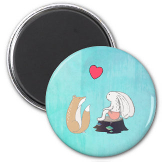 Cute Fox and Rabbit Forest Creatures with a Heart 2 Inch Round Magnet
