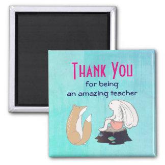 Cute Fox and Rabbit Teacher Appreciation 2 Inch Square Magnet