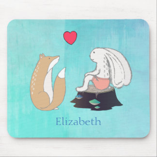 Cute Fox and Rabbit Woodland Creatures Drawing Mouse Pad