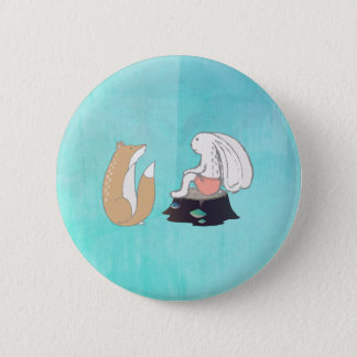 Cute Fox and Rabbit Woodland Creatures Drawing Pinback Button