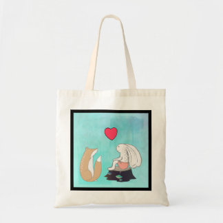 Cute Fox and Rabbit Woodland Creatures Drawing Tote Bag
