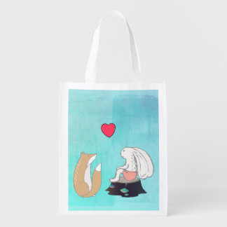 Cute Fox and Rabbit Woodland Creatures with Heart Market Tote
