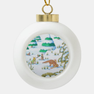 cute fox and rabbits christmas snow scene ceramic ball christmas ornament