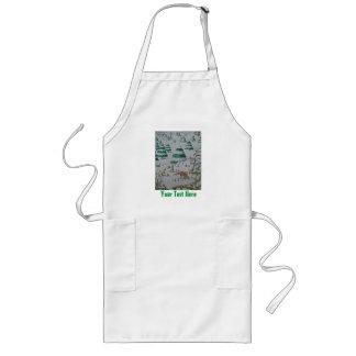 cute fox and rabbits christmas snow scene long apron