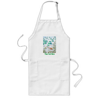cute fox and rabbits christmas snow scene long apron