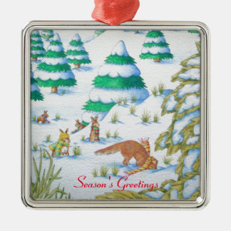 cute fox and rabbits christmas snow scene metal ornament
