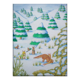 cute fox and rabbits christmas snow scene poster